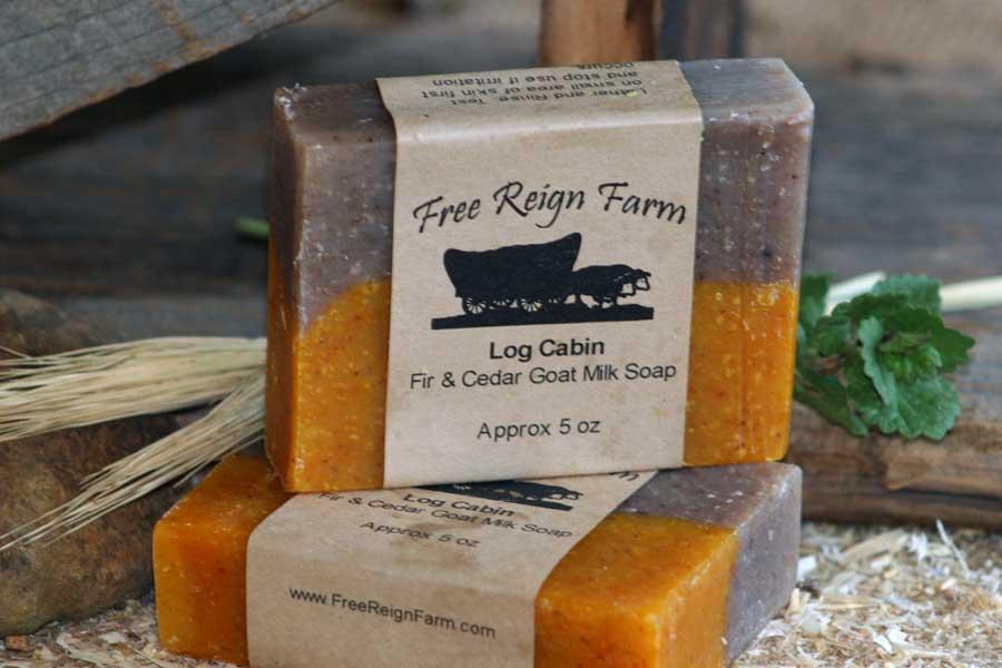 log cabin fir cedar goat milk soap