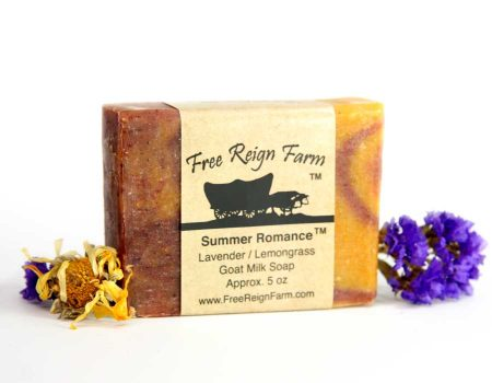 These goat milk soaps are made with lavender essential oils and lemongrass essential oils.