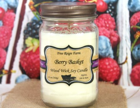 Berry Basket Wood Wick Soy Candle