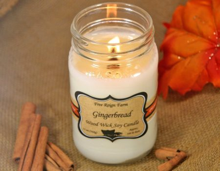 Free Reign Farm Gingerbread Wood Wick Soy Candle