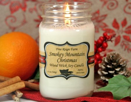 Smokey Mountain Christmas Wood Wick Candle by Free Reign Farm